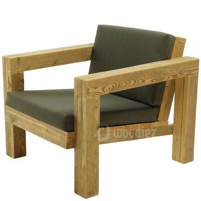 Steigerhouten loungestoel met kussens op maat kopen