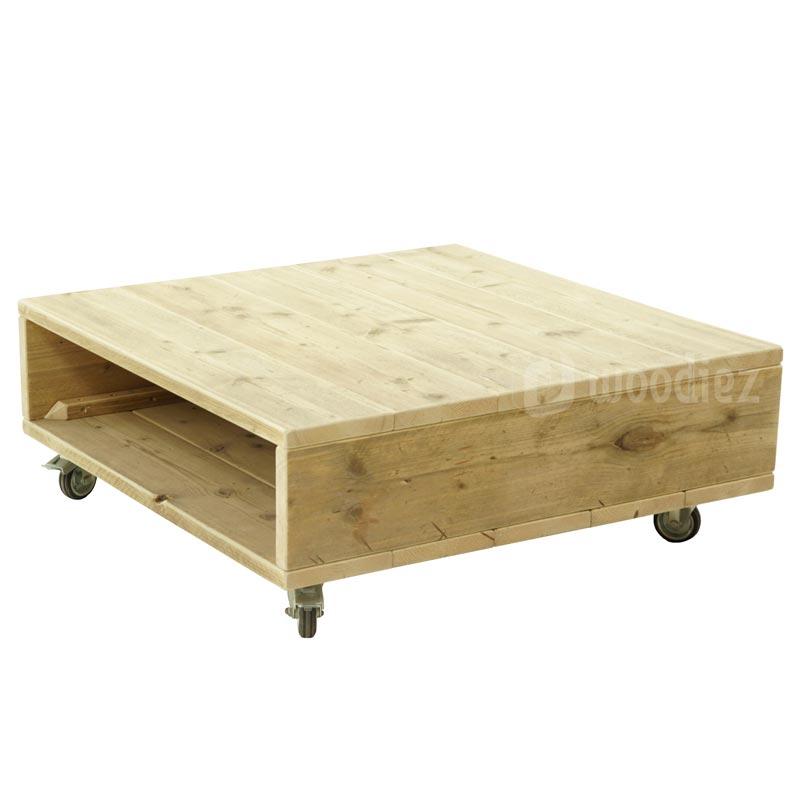 Steigerhouten salontafel op wielen maatwerk