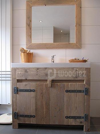 Steigerhouten badkamermeubel met bijpassende spiegel maatwerk