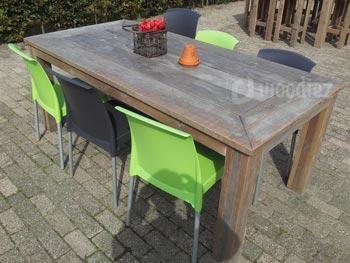 Steigerhouten dinertafel met blokpoten horeca inrichting op maat