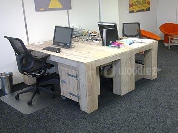 Steigerhouten kantoorinrichting op maat steigerhouten bureau met opbergkasten