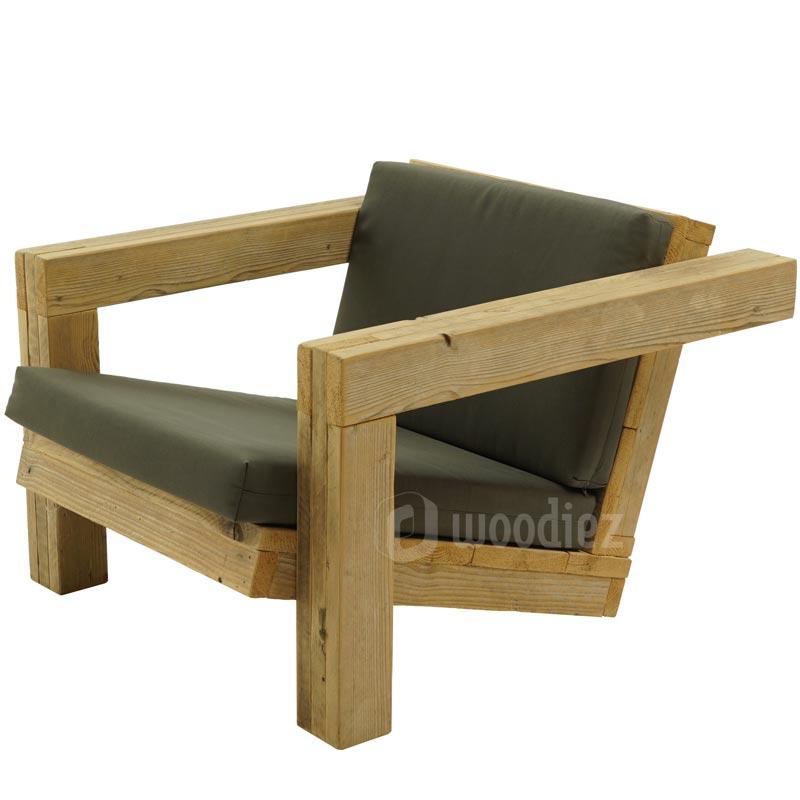 Unieke loungestoel steigerhout met weerbestendige kussens