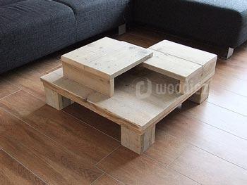 Bijzondere steigerhouten salontafel met verschillende vakken