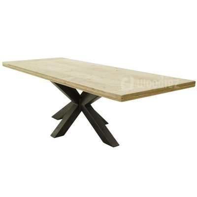 Industriële tuintafel met spinpoot van staal en steigerhouten tafelblad met horizontale plank