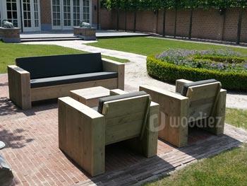 Steigerhouten loungeset met loungebank en loungestoelen op maat
