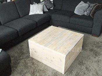 Steigerhouten salontafel op maat hocker