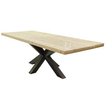 Industriële tuintafel spinpoot van staal met steigerhouten tafelblad op maat